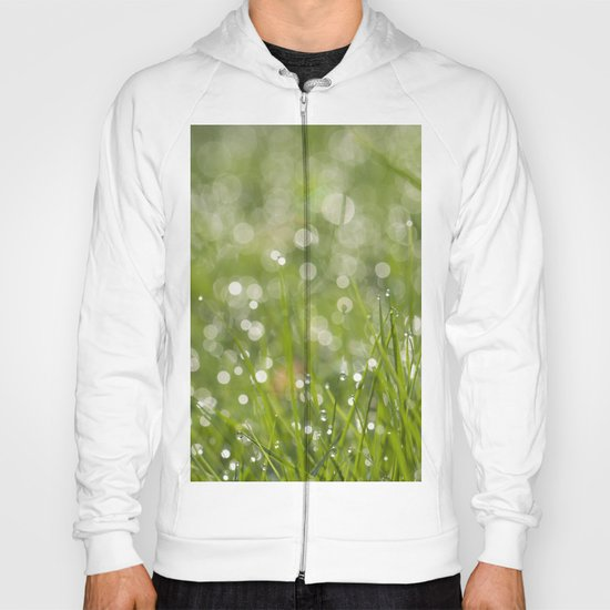 Fresh green meadow - Green grass with waterdroplets sparkling in the sun on #Society6 Hoody