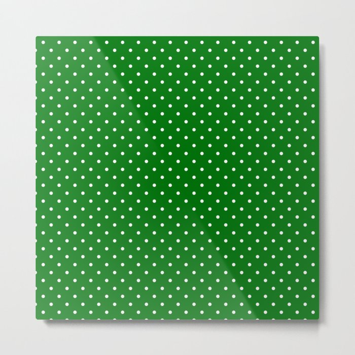 Small White Polkadot Love Heart on Christmas Green Metal Print