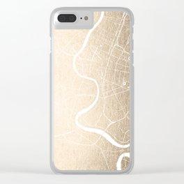 Bangkok Thailand Minimal Street Map - Gold Metallic and White III Clear iPhone Case