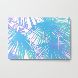 Graphic illustration of palm leaves branches in blue on white Metal Print