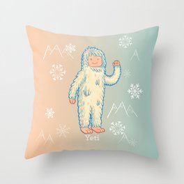 Yeti - Cute Cryptid Throw Pillow