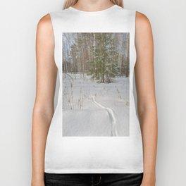 Fox tracks in snowy forest Biker Tank