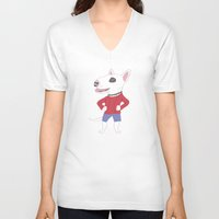 bull terrier V-neck T-shirts featuring Bull terrier by Tomoko K