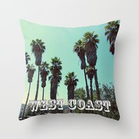 west coast Throw Pillows featuring West Coast by Romeo & Rebeccah