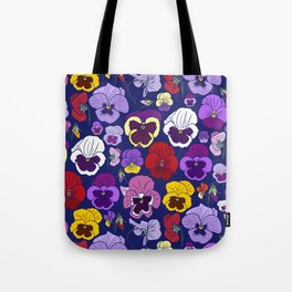Pansy Flowers Spring Illustration Tote Bag