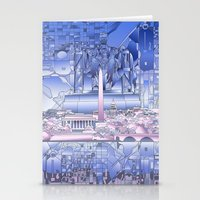 washington dc Stationery Cards featuring washington dc city skyline by Bekim ART