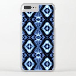 Bright Bue Diamond Pattern Clear iPhone Case
