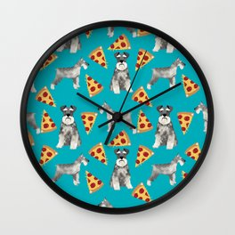 schnauzer pizza dog breed pet pattern dog mom Wall Clock