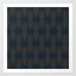 Art Deco Gold/Navy Pattern II Art Print