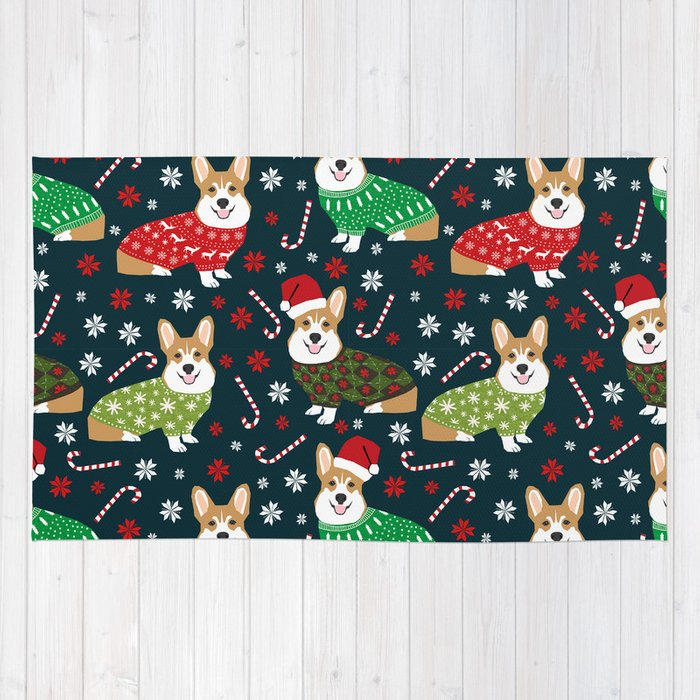corgi christmas sweater ugly sweater party with welsh corgis dog lovers dream christmas rug by petfriendly society6