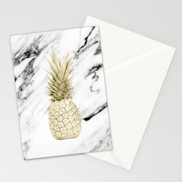 Gold Pineapple on Marble Stationery Cards