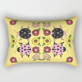 Ladybugs with Flowers Rectangular Pillow