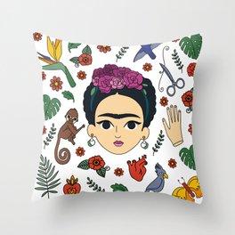 Frida Kahlo Pattern Throw Pillow