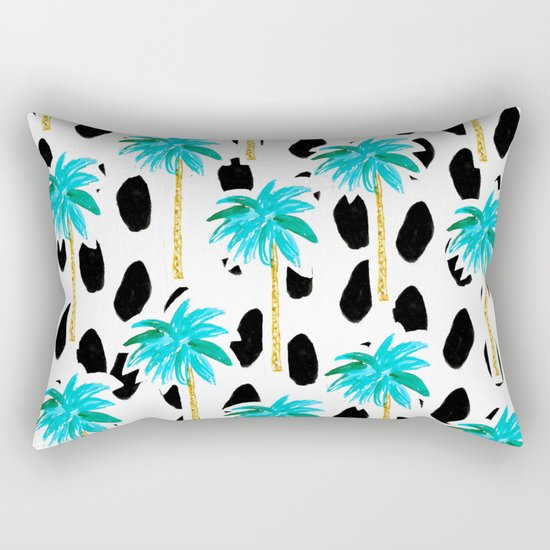 Palm Trees and Dots Rectangular Pillow