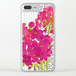 Vibrant Pink Geranium on Black and White Geometric Ground Clear iPhone Case