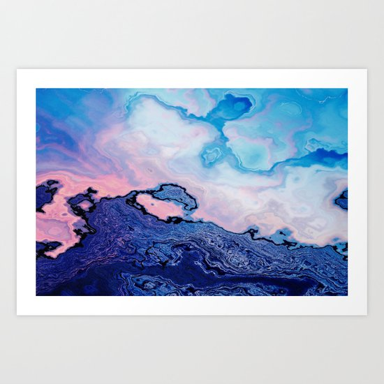BLUE AND PINK PAINT MIXING Art Print