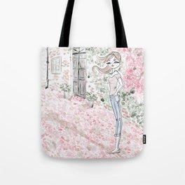 Sweet woman in a pink petal rain. Tote Bag