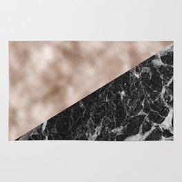 Black campari marble & beige rose gold Rug