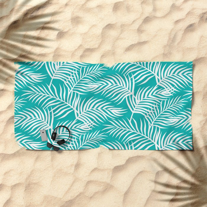 Palm Leaves_Teal Beach Towel