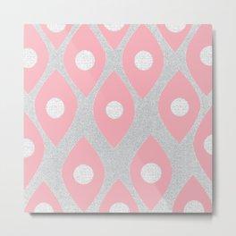 Eye Pattern Pink Metal Print