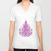 chandelier V-neck T-shirts featuring Chic Chandelier by Zen and Chic