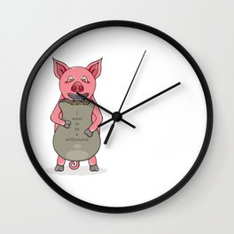 pig and bag with gold coins Wall Clock