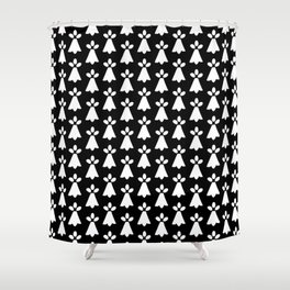 White and Black Ermine Spots Patterned Print Shower Curtain