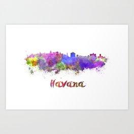 Havana skyline in watercolor Art Print