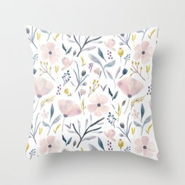 Delicate Pastel Floral Throw Pillow