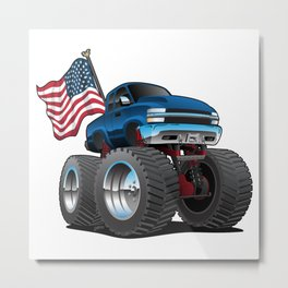 Monster Pickup Truck with USA Flag Cartoon Metal Print