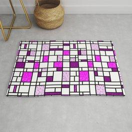 Modern Art Pink and Purple Speckled Grid Pattern Rug