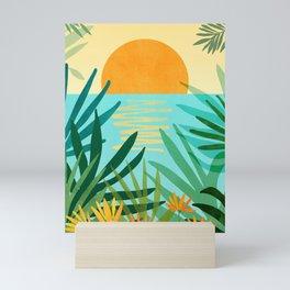 Tropical Ocean View / Landscape Illustration Mini Art Print
