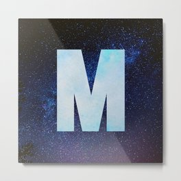 Blue Space Galaxy Initial Monogram Letter M Metal Print