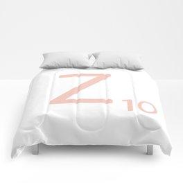 Pink Scrabble Letter Z - Scrabble Tile Art and Accessories Comforters