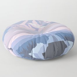 On the way to snowy mountain, minimalism in nature. Floor Pillow