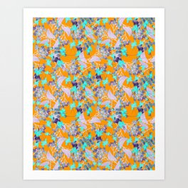 Floral Burst in Ochre Art Print