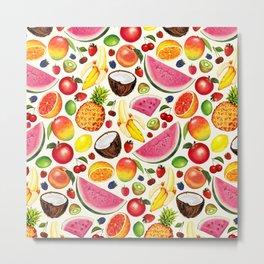 Fruit Pattern - White Metal Print