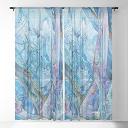 Branching Out in Blue - Wooded Grove of Trees in Blue and Purple Watercolor on Yupo Sheer Curtain