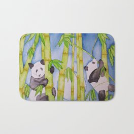 Playful Pandas by Moonlight Bath Mat