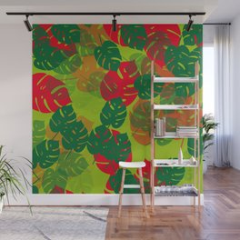 monstera green red Wall Mural