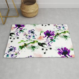 Abstract watercolor flowers purple Rug