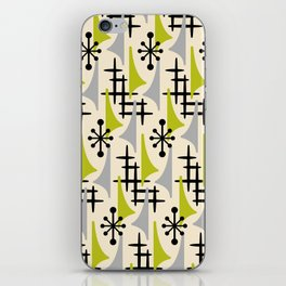 Mid Century Modern Atomic Wing Composition Green & Grey iPhone Skin