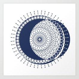 Moon Mandala (Dark Blue) Art Print