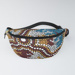 Authentic Aboriginal Art - Wetland Dreaming Fanny Pack