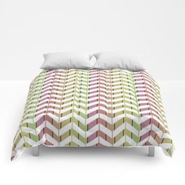 Zigzag striped pattern. Pink, green, brown, white stripes Comforters