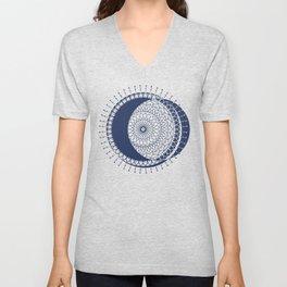 Moon Mandala (Dark Blue) Unisex V-Neck