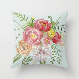 Bouquet of Spring Flowers Light Aqua Throw Pillow