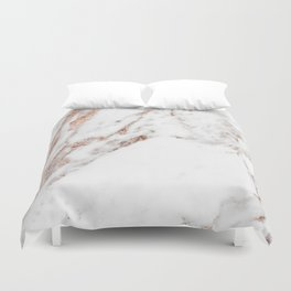 Rose gold foil marble Duvet Cover