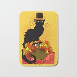 Thanksgiving Le Chat Noir With Turkey Pilgrim Bath Mat