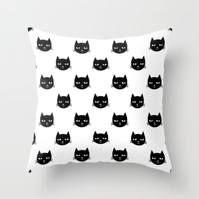 Cat Minimal Ilration Pet Cats Head Drawing Digital Pattern Black And White Nursery Art Throw Pillow
